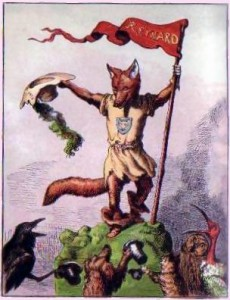 Renart the fox, drawn by Ernest Griset, from a children's book published in 1869. This image (or other media file) is in the public domain because its copyright has expired.