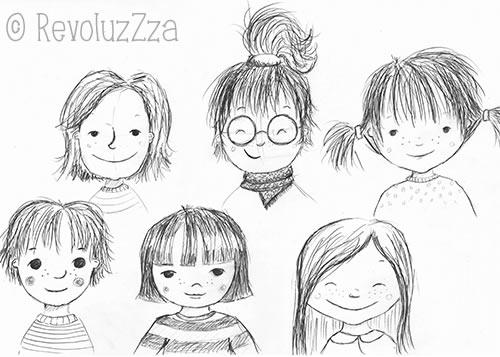 Bleistiftskizzen von Mädchengesichtern.