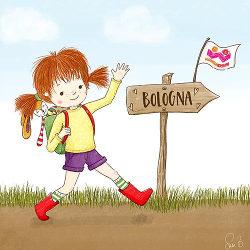Zeichnung von Aurelia, die zur KinderBuchmesse Bologna wandert.