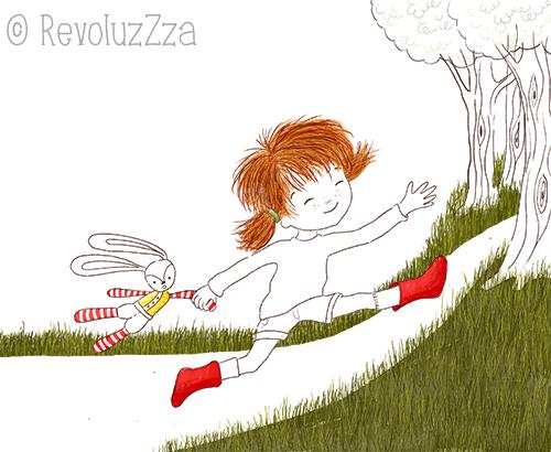 Halbfertoge Buchzeichnung: Ein Mädchen rennt einen Weg entlang.