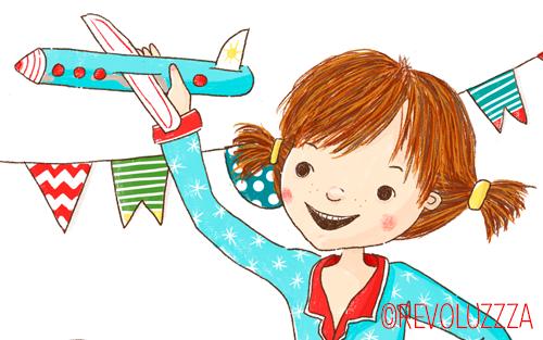 Aurelia spielt mit einem Flugzeug